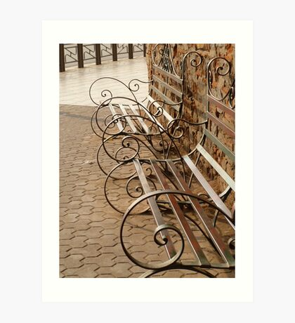 Curly benches Art Print
