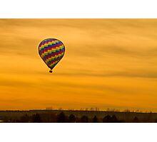 Hot Air Balloon Golden Sky Photographic Print