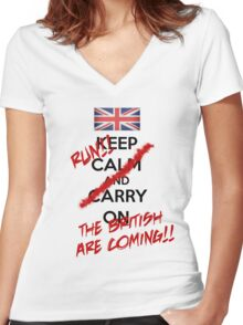 The British Are Coming! (black text) Women's Fitted V-Neck T-Shirt