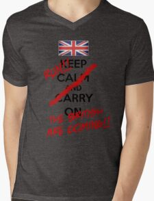 The British Are Coming! (black text) Mens V-Neck T-Shirt