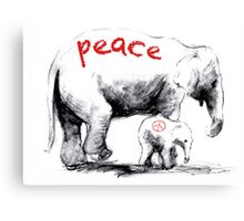 Peace Elephant Mum and Babe Canvas Print
