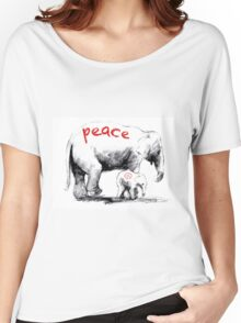 Peace Elephant Mum and Babe Women's Relaxed Fit T-Shirt