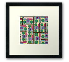 Retro Colorful Boombox Pattern Framed Print
