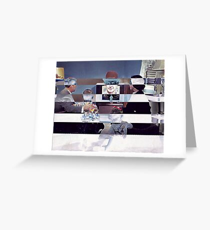 Family Watching 3D TV. Greeting Card