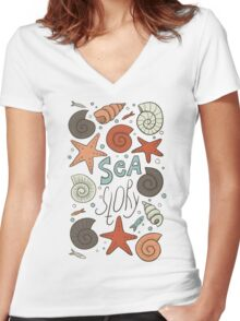 Sea story Women's Fitted V-Neck T-Shirt