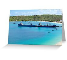 Transportation: cargo ships. Greeting Card