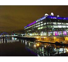 Glasgow at night, BBC Building Photographic Print