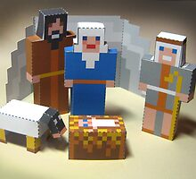 Paper kit of nativity scene assembled by wonder-webb