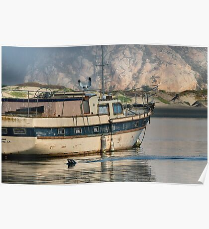Old Boat and Wildlife, Moro Bay Poster