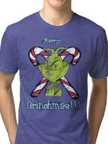 Merry Grinchmas (Grunge ver.) Tri-blend T-Shirt