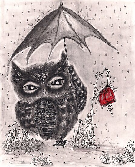 Owl in a Rainstorm by InkyDreamz