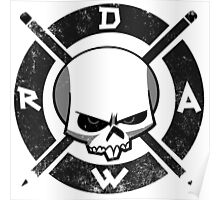 Draw Everyday - Artsy Vector Skull based Design (Black and White) Poster