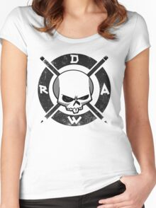 Draw Everyday - Artsy Vector Skull based Design (Black and White) Women's Fitted Scoop T-Shirt