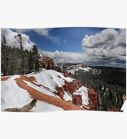 Red Rock and Snow Poster