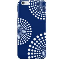 circular spots - navy + white iPhone Case/Skin
