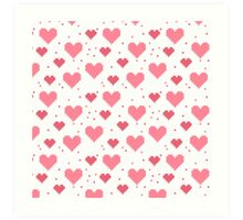 Abstract 8-bit oldschool heart pattern Art Print