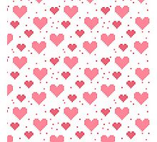 Abstract 8-bit oldschool heart pattern Photographic Print