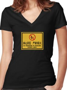 No Firemaking in Hardcore Scenery, China Women's Fitted V-Neck T-Shirt