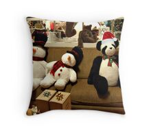 Panda and Snowmen Ready for Christmas Throw Pillow