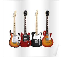 Four Electric Guitars Poster