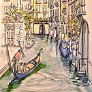 Venice, canal. Pen and wash 2010Ⓒ. Framed 42x32cm.  by Elizabeth Moore Golding