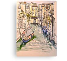 Venice, canal. Pen and wash 2010Ⓒ. Framed 42x32cm.  Canvas Print