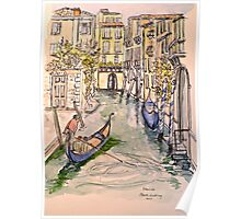 Venice, canal. Pen and wash 2010Ⓒ. Framed 42x32cm.  Poster