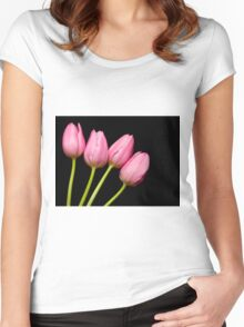 Four Pink Tulips Women's Fitted Scoop T-Shirt
