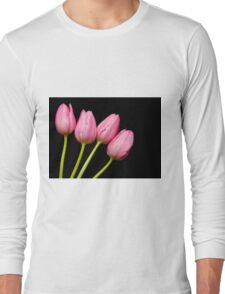Four Pink Tulips Long Sleeve T-Shirt