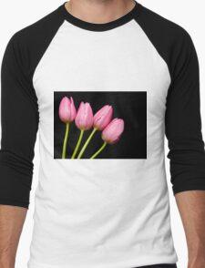 Four Pink Tulips Men's Baseball ¾ T-Shirt