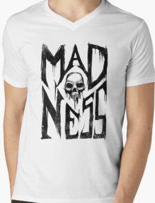 Madness - Cool Handlettering Skull design Mens V-Neck T-Shirt