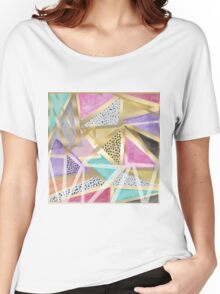 Geometric triangles watercolor hand paint pattern Women's Relaxed Fit T-Shirt