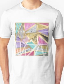 Geometric triangles watercolor hand paint pattern T-Shirt