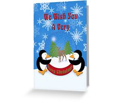 Merry Christmas Whimsical Penguins Greeting Card