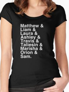 The Cast of Critical Role - Helvetica List (Inverted) Women's Fitted Scoop T-Shirt