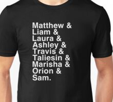 The Cast of Critical Role - Helvetica List (Inverted) Unisex T-Shirt