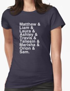 The Cast of Critical Role - Helvetica List (Inverted) Womens Fitted T-Shirt