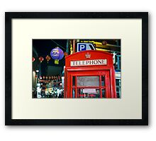 Red phone booth in Chinatown Framed Print