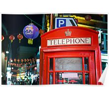 Red phone booth in Chinatown Poster