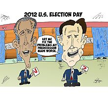 Obama Romney political cartoon Photographic Print