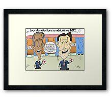OBAMA et ROMNEY en caricature politique Framed Print