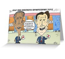 OBAMA et ROMNEY en caricature politique Greeting Card