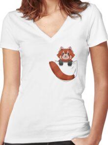 Pocket Red panda  Women's Fitted V-Neck T-Shirt