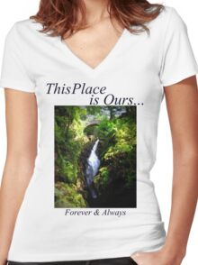 This Place IS Ours... Waterfall Women's Fitted V-Neck T-Shirt
