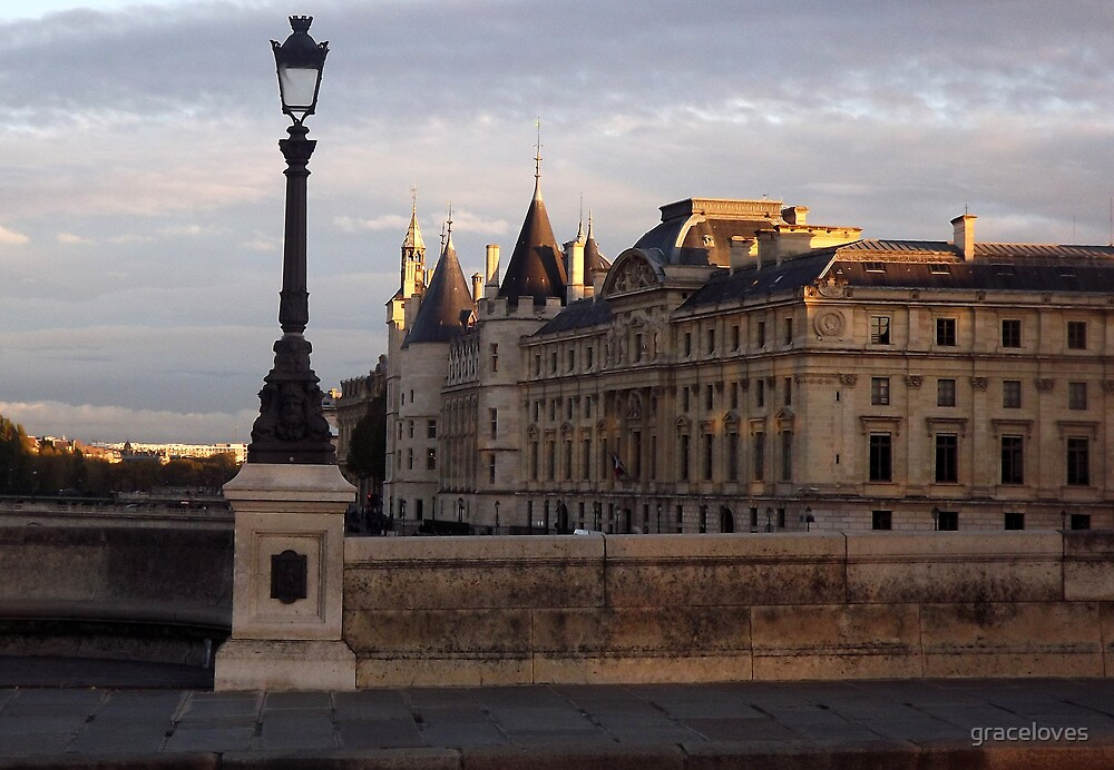 Paris along the Seine sunset by graceloves