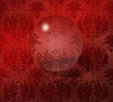 Red Damask Crystal Ball, iPad Case by Cherie Balowski