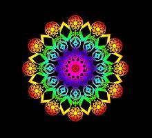 Rainbow Gradient Mandala, iPad Case by Cherie Balowski