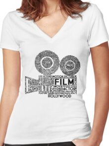 Film Camera Typography - Black Women's Fitted V-Neck T-Shirt