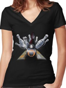 Star Bowling Women's Fitted V-Neck T-Shirt