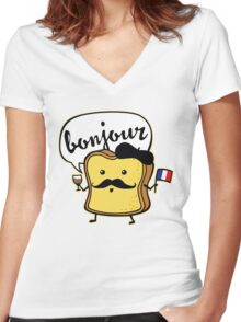 French Toast Women's Fitted V-Neck T-Shirt